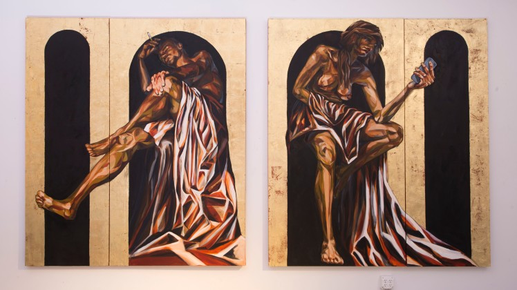 ST. INHALE AND ST. EXHALE, 21ST CENTURY SAINTS: ARCH DE-BASED, 2015 gold leaf and oil on canvas double diptych: group of four combined dimensions: 7 feet x 12 feet 4 inches