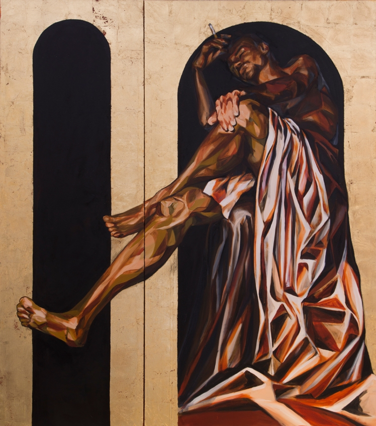 ST. INHALE, 2015 gold leaf and oil on canvas double diptych: two of group of four 7 feet x 6 feet 2 inches