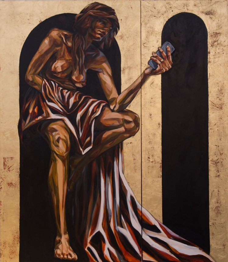 ST. EXHALE, 2015 gold leaf and oil on canvas double diptych: two of group of four 7 feet x 6 feet 2 inches