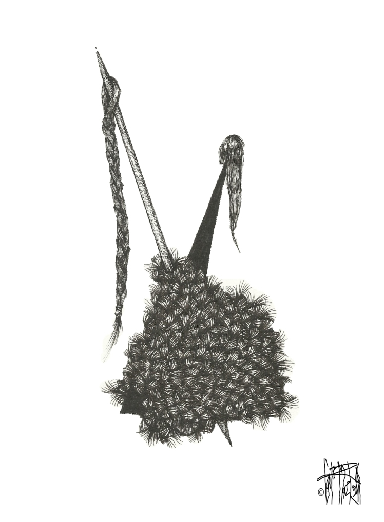 MEATBALL #52, 2015 archival pen on watercolor paper 10 inches x 8 inches $140 (includes stainless steel frame and 1/4 inch black matte)