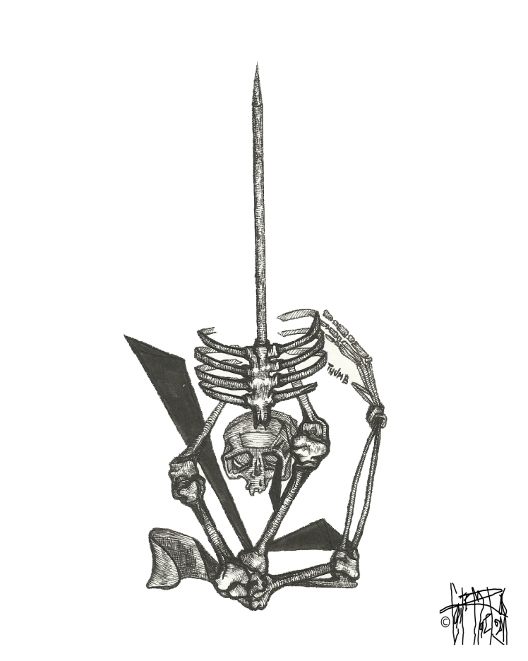 MEATBALL #95, 2015 archival pen on watercolor paper 10 inches x 8 inches $140 (includes stainless steel frame and 1/4 inch black matte)