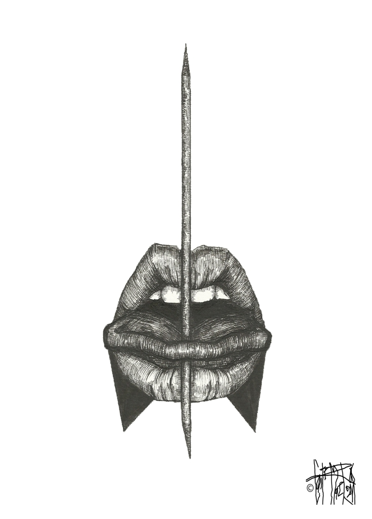 MEATBALL #21, 2015 archival pen on watercolor paper 10 inches x 8 inches $140 (includes stainless steel frame and 1/4 inch black matte)